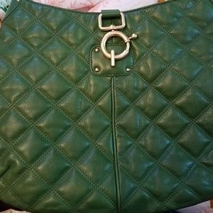 J. Crew quilted green leather bag